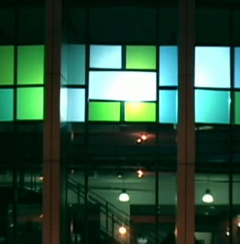interactive music projection on a building