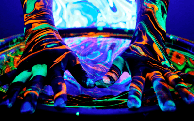 Blacklight body marbling